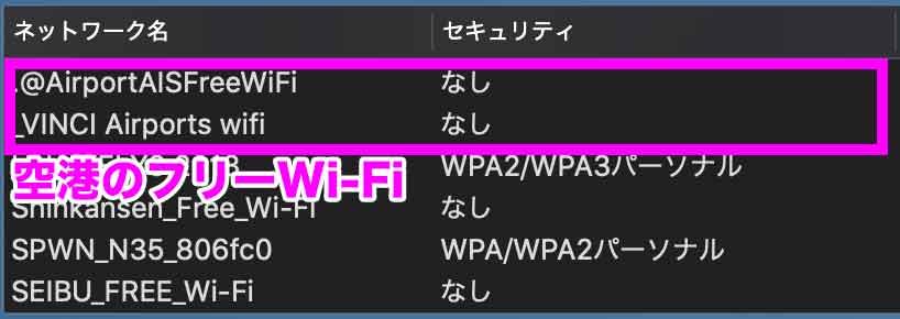 空港のフリーWi-Fi