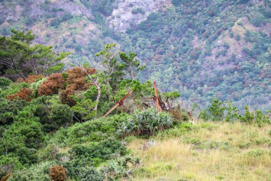 旭平展望台から見える砲台の跡