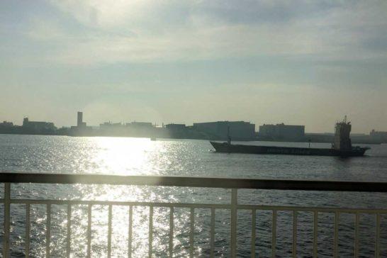 東京湾をすすむおがさわら丸